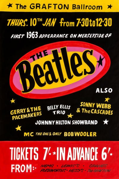 Image of THE BEATLES AT THE GRAFTON BALLROOM CONCERT POSTER 1963