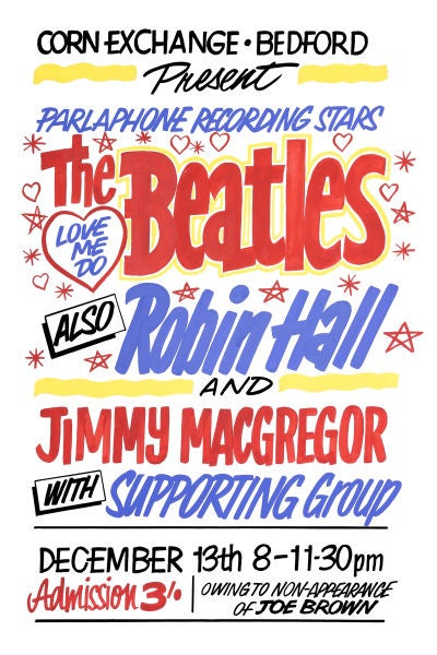 Image of THE BEATLES AT THE CORN EXCHANGE BEDFORD CONCERT POSTER 1962