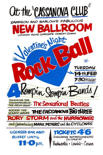 Image of THE BEATLES VALENTINES NIGHT ROCK BALL CONCERT POSTER 1961