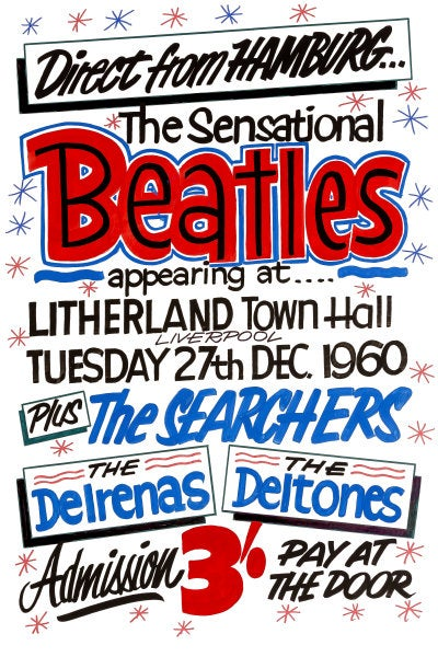 Image of THE BEATLES 'DIRECT FROM HAMBURG' CONCERT POSTER 1960