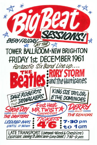 Image of THE BEATLES 'BIG BEAT SESSIONS' CONCERT POSTER 1961