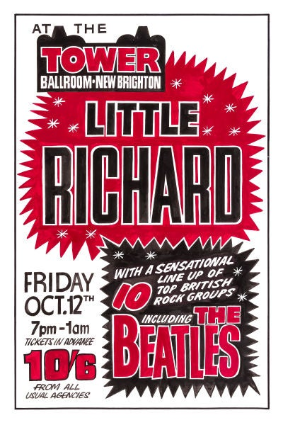 Image of THE BEATLES & LITTLE RICHARD CONCERT POSTER 1962