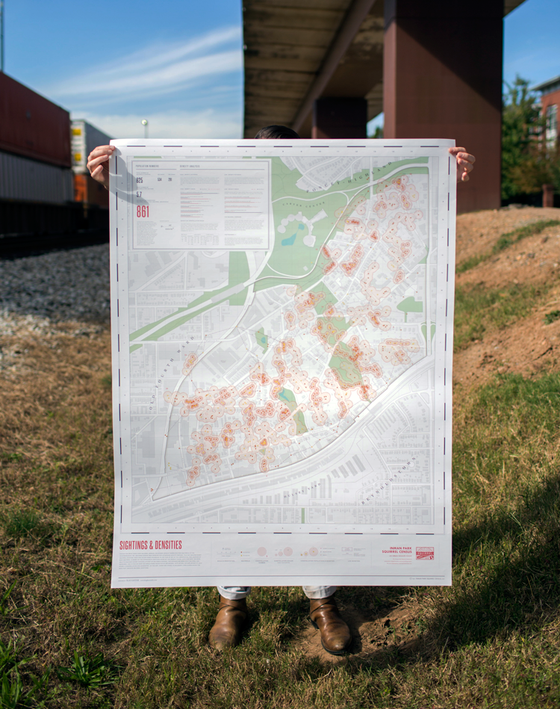 Image of 2012 Inman Park Squirrel Census: Sightings & Densities Map and Composite Infographic