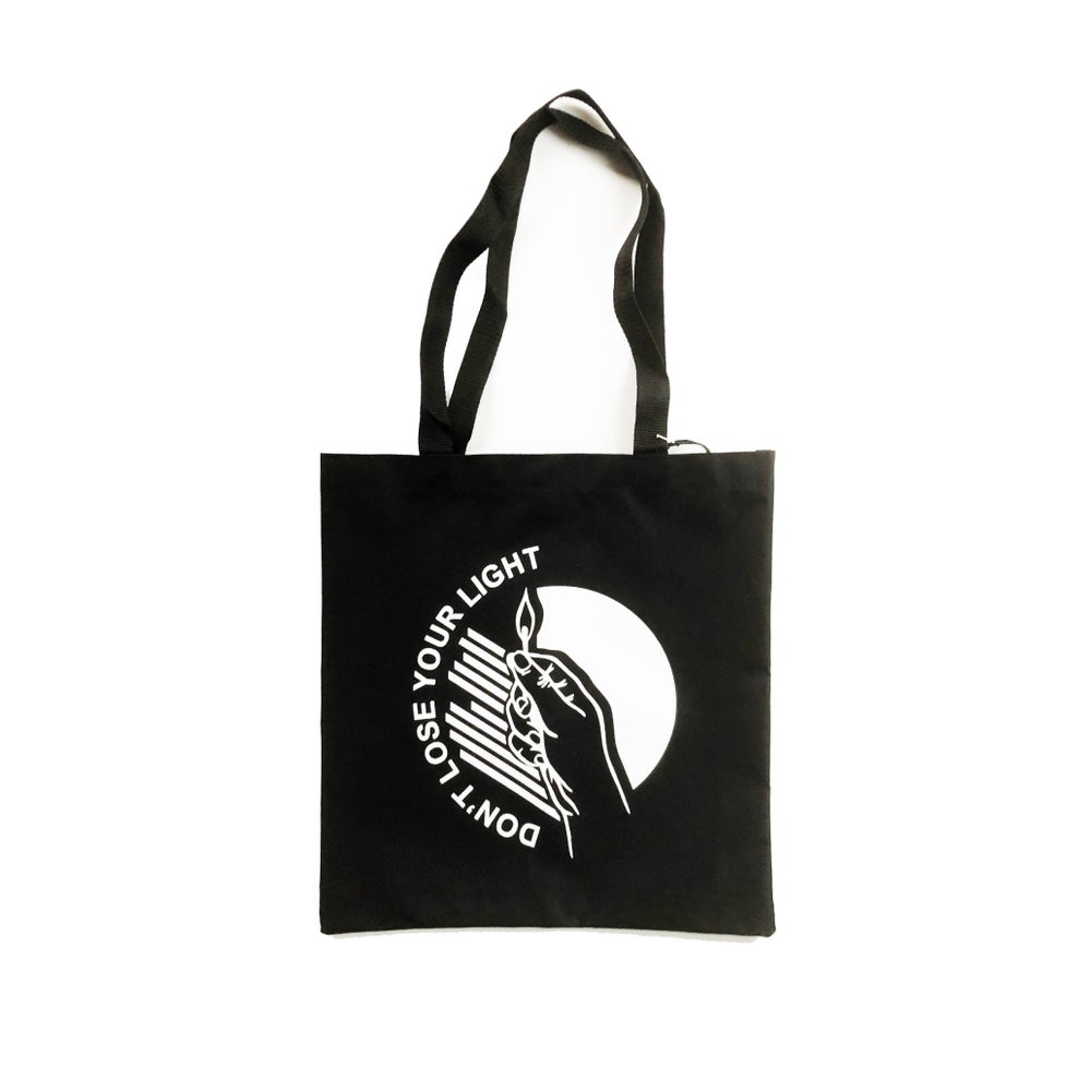 """Image of """"DON'T LOSE YOUR LIGHT"""" BLACK TOTE BAG"""
