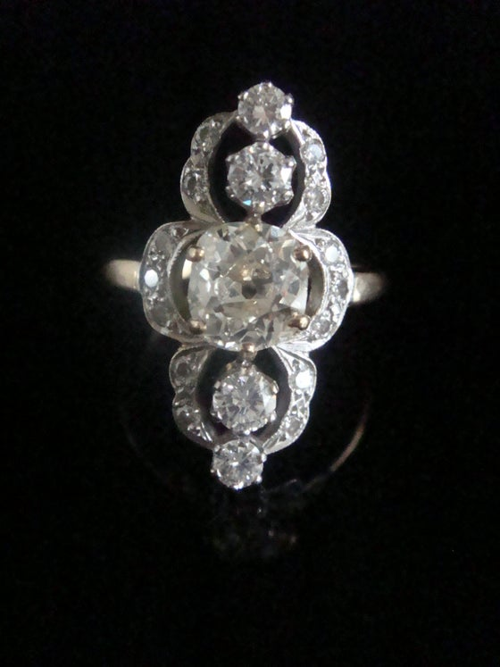 Image of EDWARDIAN FRENCH 18CT YELLOW GOLD DIAMOND 2.38CT MARQUIS  RING 1.40CT CENTRE