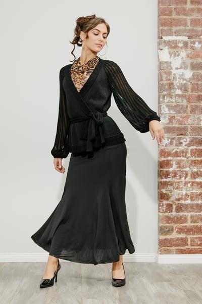 Image of Ballroom Panel Skirt - Black (J3196)