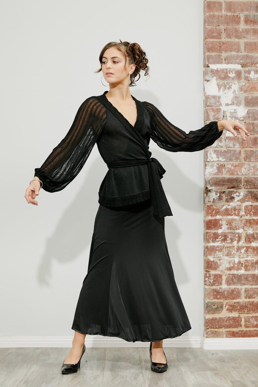 Image of Ballroom Panel Skirt - Black (J3196) Dancewear latin ballroom