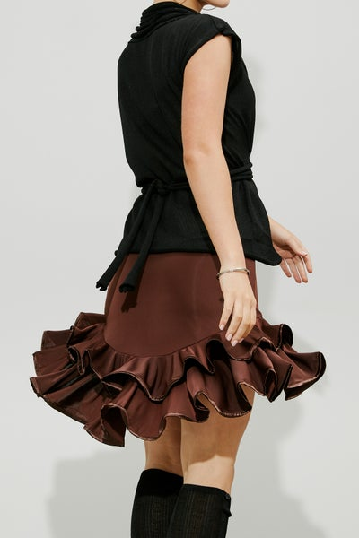 Image of Frill Skirt - Chocolate (J6664)