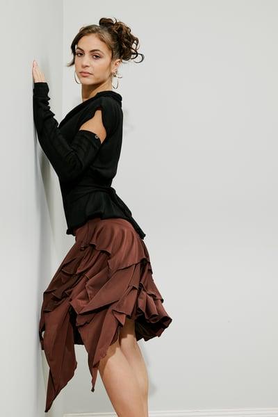 Image of J1810S Latin Flamenco Skirt CHOCO