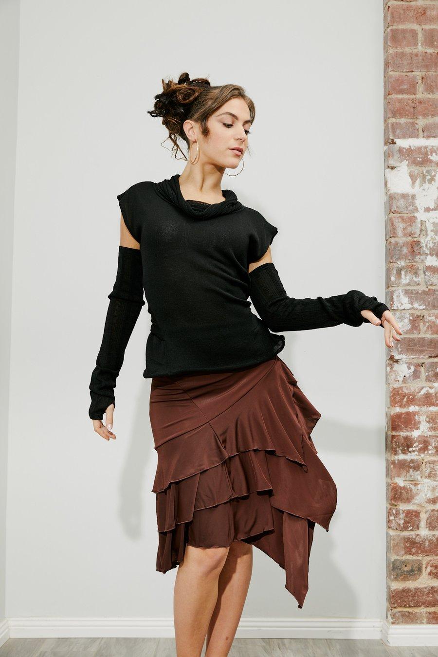 Image of J1810S Latin Flamenco Skirt CHOCO Dancewear latin ballroom