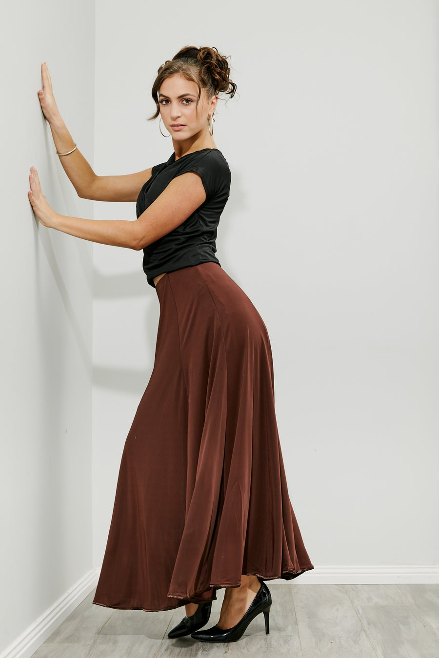Image of Ballroom Panel Skirt - Choco (J3196) Dancewear latin ballroom