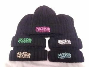 Image of nick-e-nice beenie hats with mr nice logo