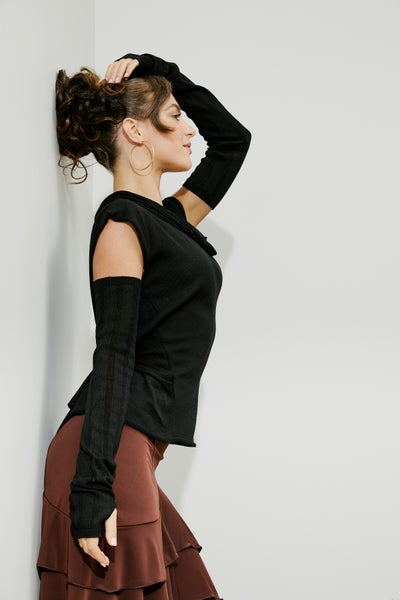 Image of Knitted Funnel Neck Pullover w/ Arm Warmer set JNT-104