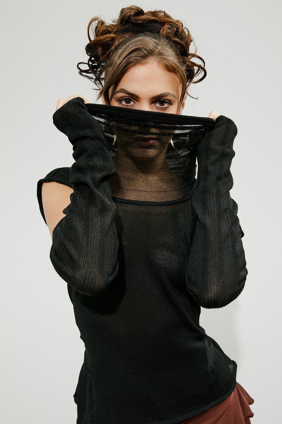 Image of Knitted Funnel Neck Pullover w/ Arm Warmer set JNT-104 Dancewear latin ballroom