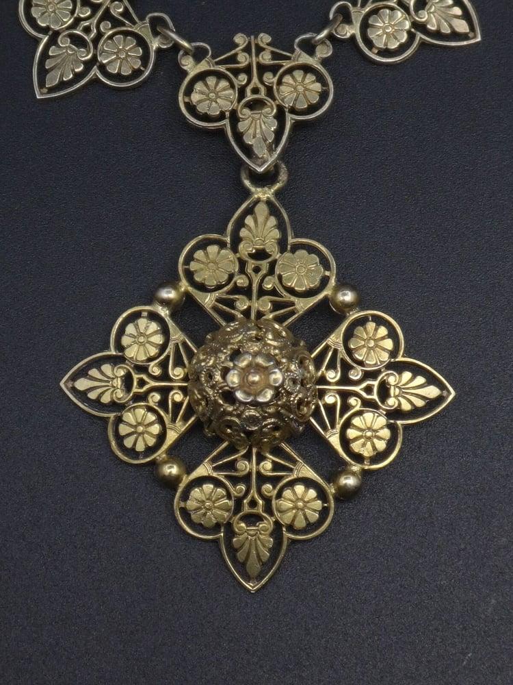 Image of Collier ancien en argent massif vermeil croix de malte style Empire XIXe