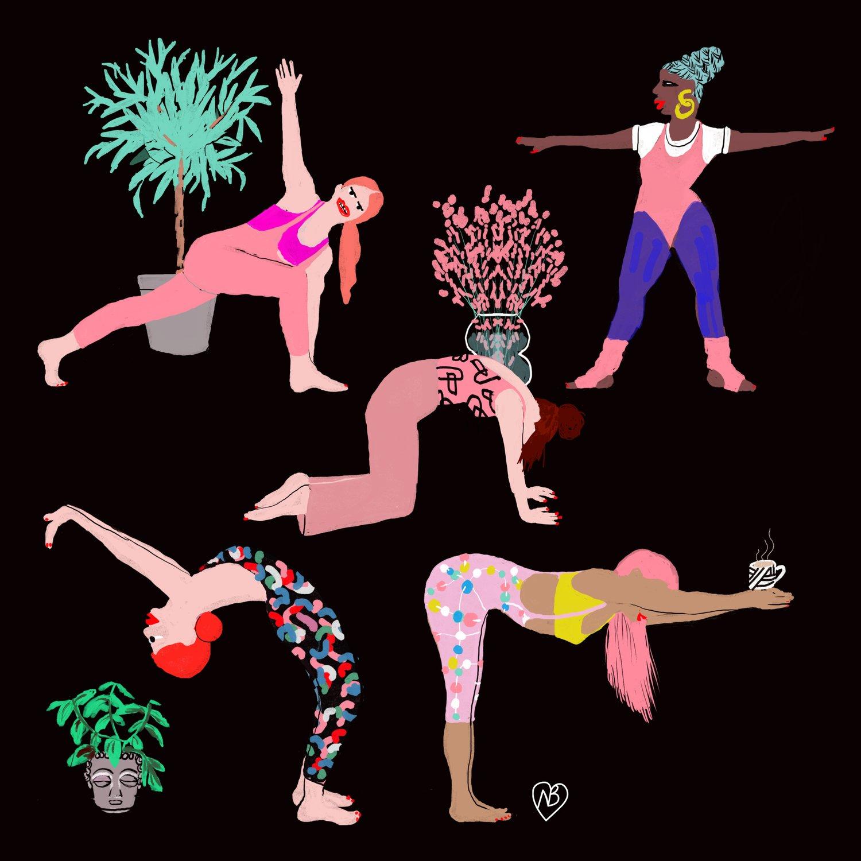 Image of Yoga with Houseplants and coffee
