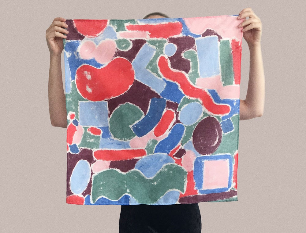 Image of HAND PAINTED SCARF and WALL ART no.3