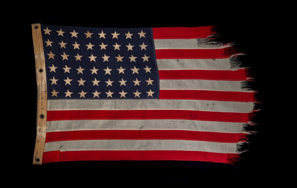 """Image of Tattered WWII American U.S. Navy Ships flag size 26"""" X 43"""" worn and frayed American Flag"""