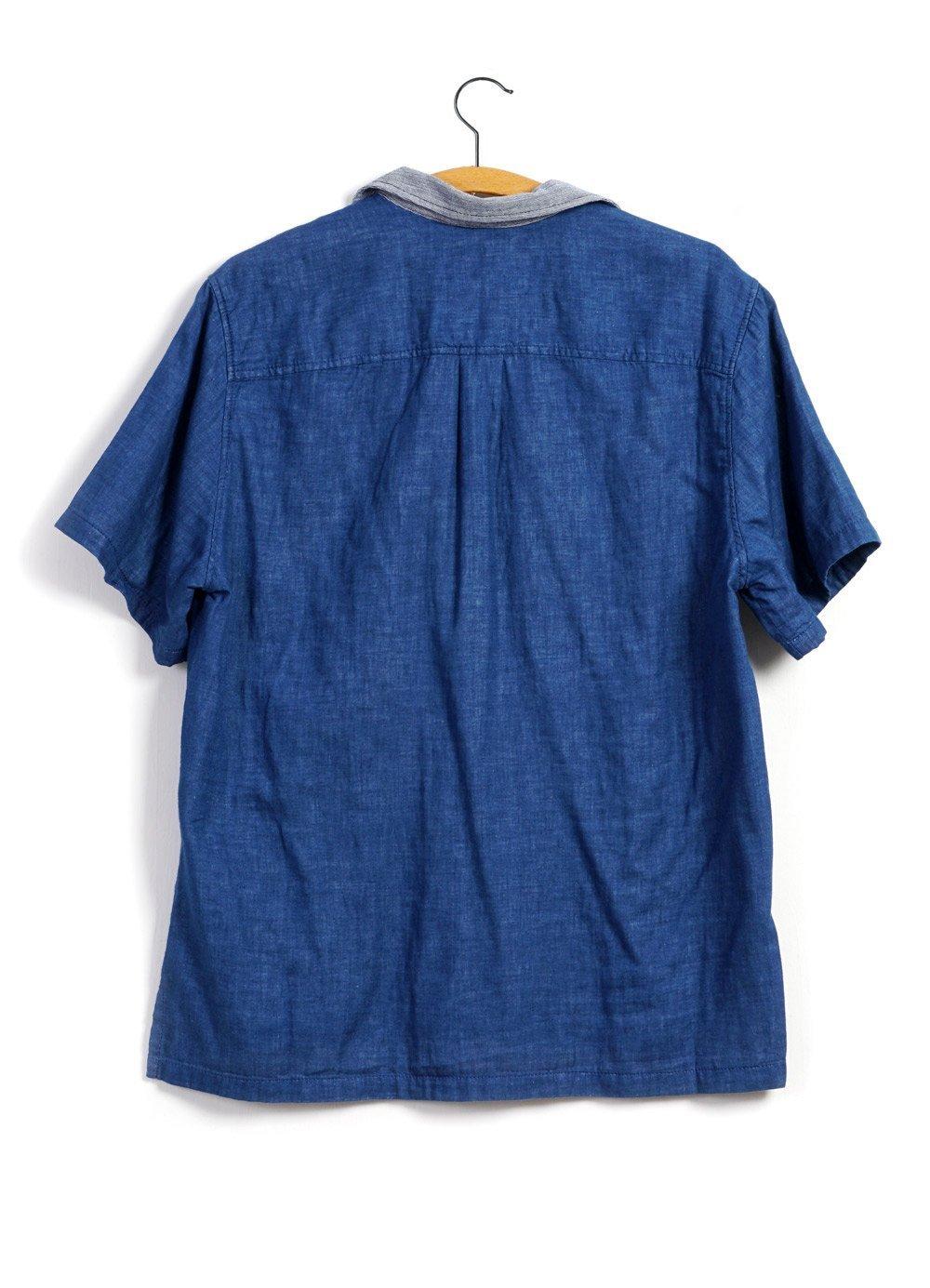 Hansen Garments PHILLIP | Short Sleeve Pull-On Shirt | flower/navy, indigo/stripe