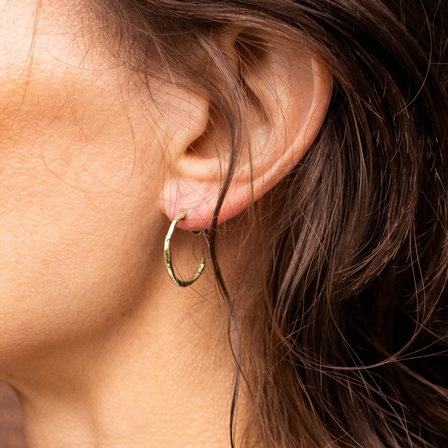 Image of Small Gold Branch Hoop Earrings