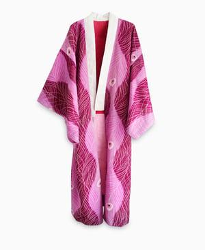 Image of Kimono med påfuglefjer med hjerter/'Too Fairy'