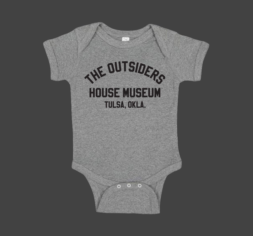 Image of THE OUTSIDERS HOUSE MUSEUM TULSA. Onesie Heather Grey.