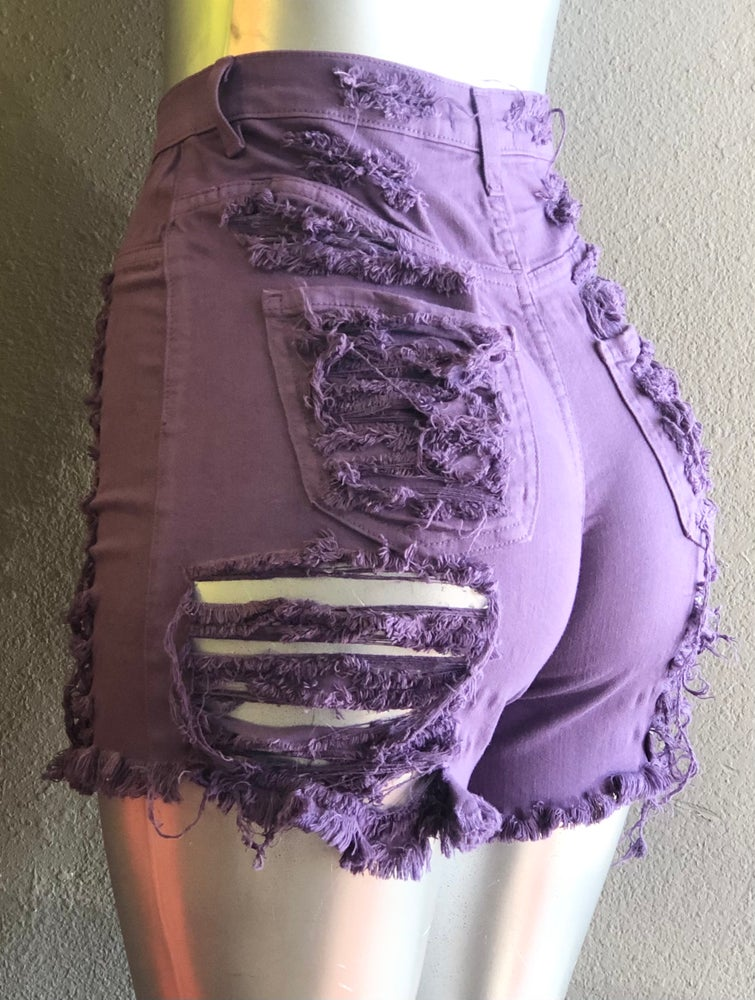 Image of #1035 PURPLE FRONT AND BACK DISTRESSED SHORTS