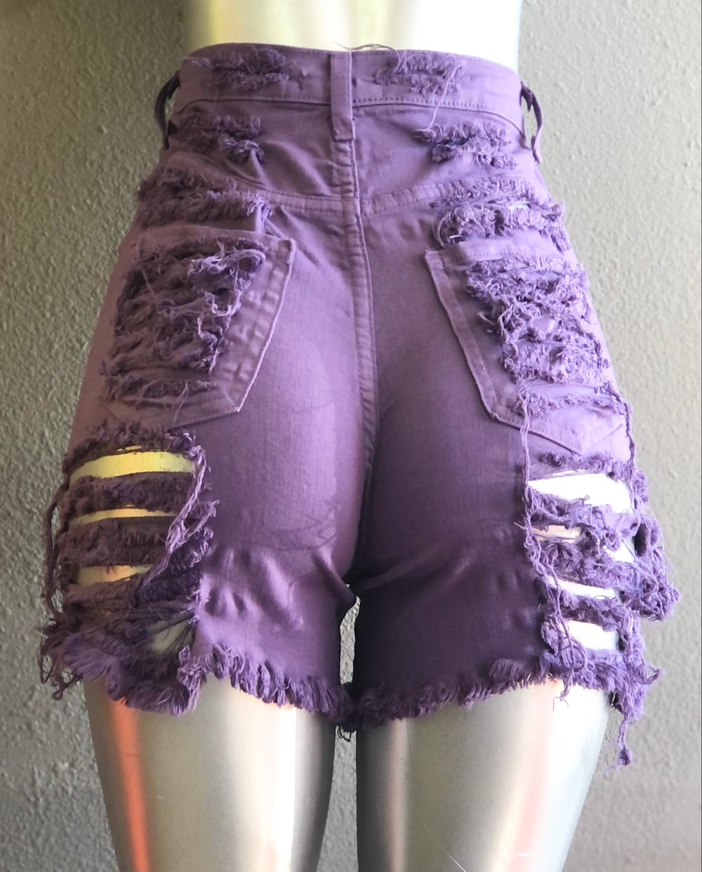 PURPLE FRONT AND BACK DISTRESSED SHORTS