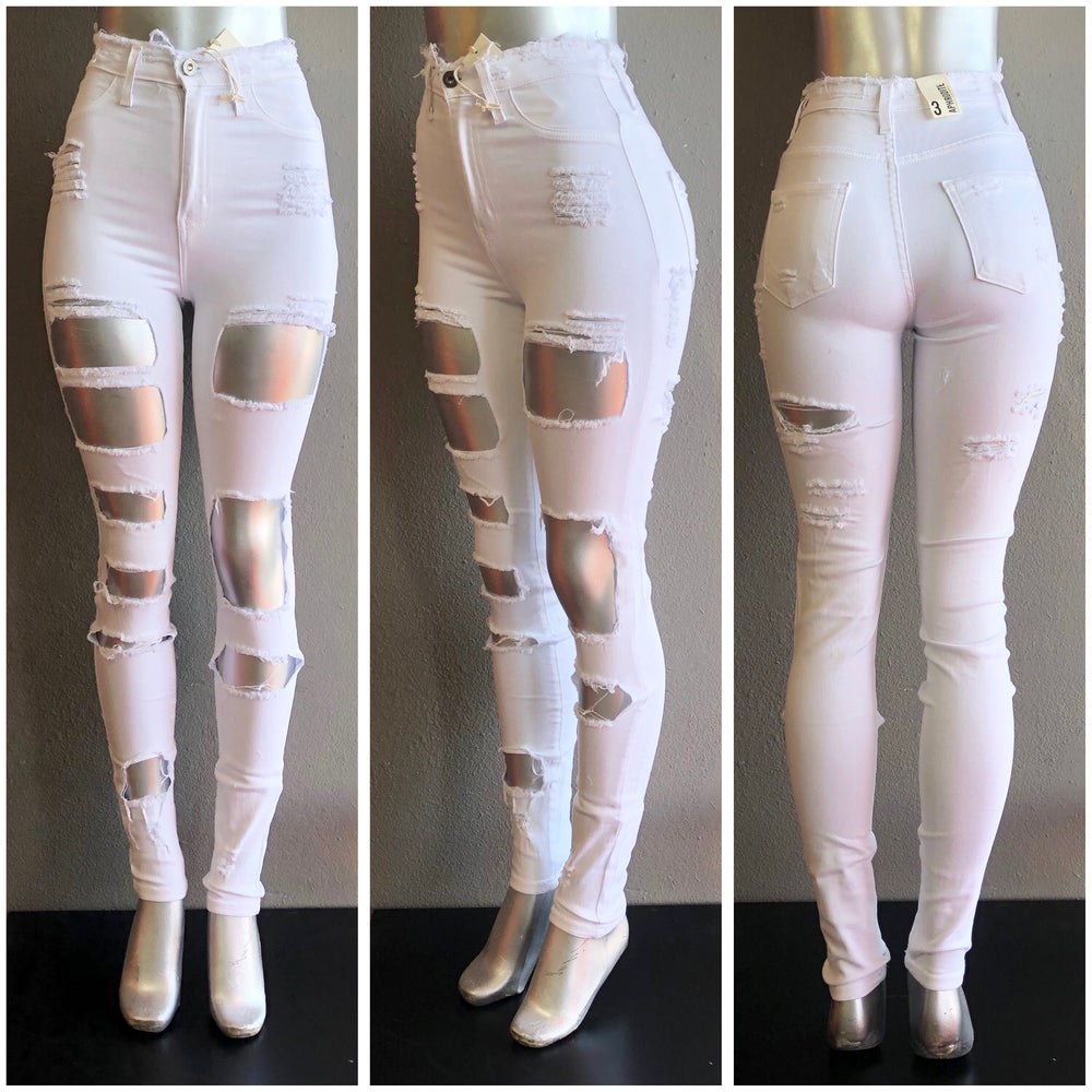 Image of #1036 WHITE FRONT AND BACK DISTRESSED PANTS