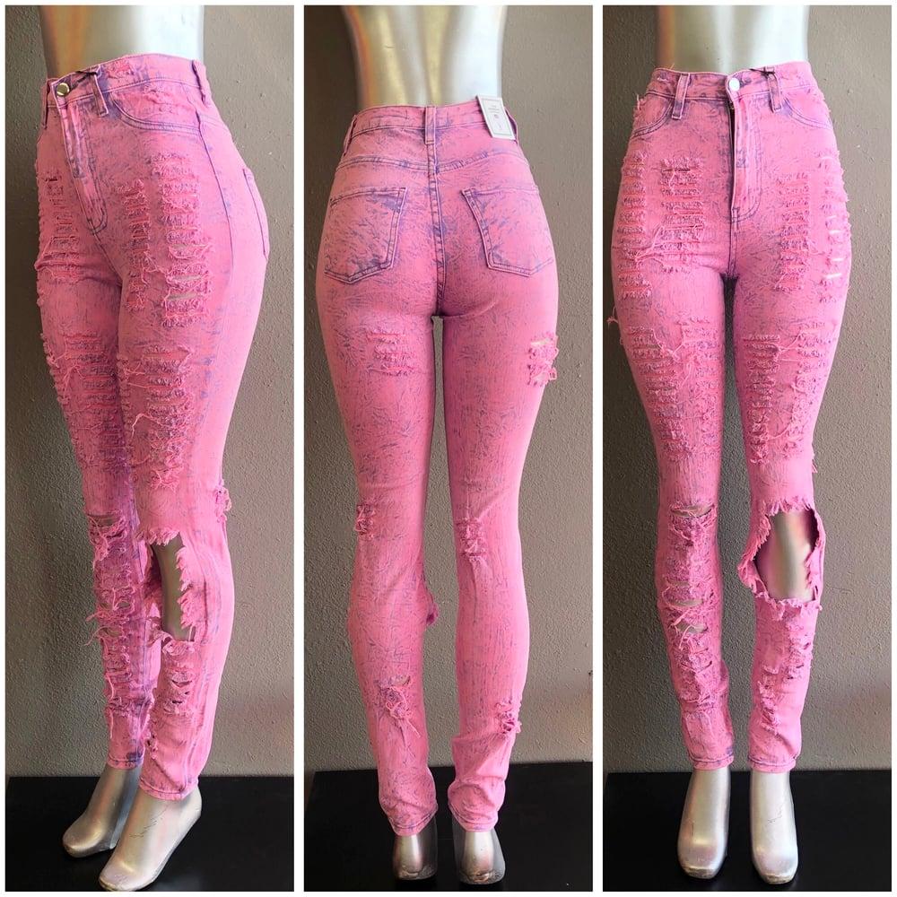 Image of #1037 PINK ACID WASH DISTRESSED PANTS