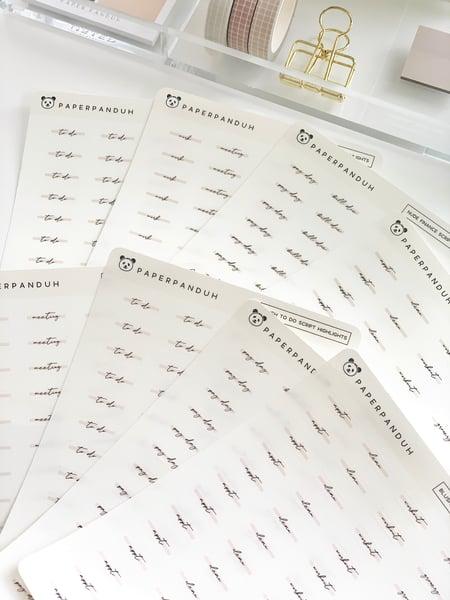 Image of Transparent Script Word Highlights