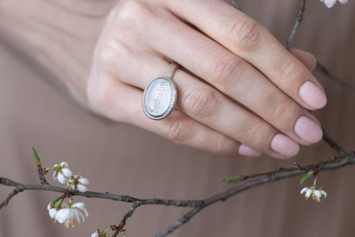 """Image of """"Light as breath"""" silver ring with topaz  · ἀήσυρος ·"""