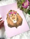Floral Crown Pink Lion Print
