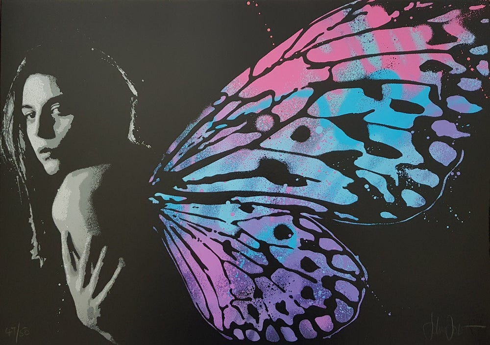 """Image of JOHN DOE - """"IN THE WINGS"""" - HAND FINISHED SCREENPRINT LTD EDITION 50- 42CM X 59.4CM"""