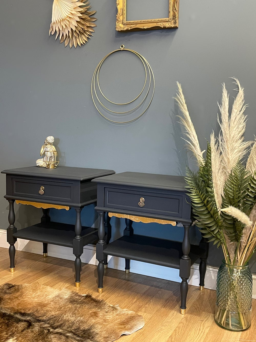 Image of Stunning dark grey & gold leaf bedside tables