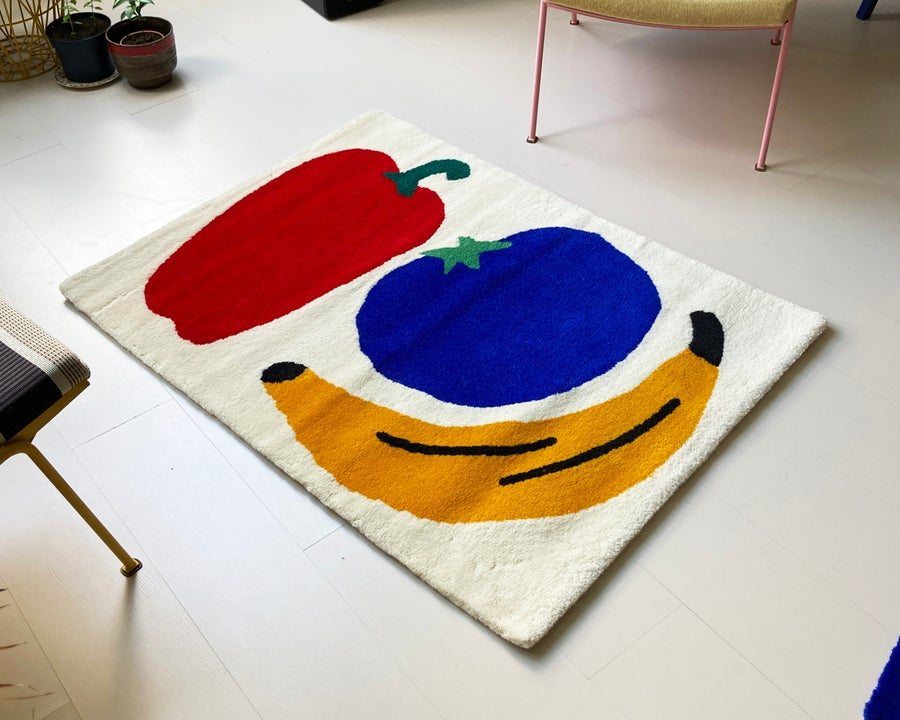 Image of Blue tomato rug made to order
