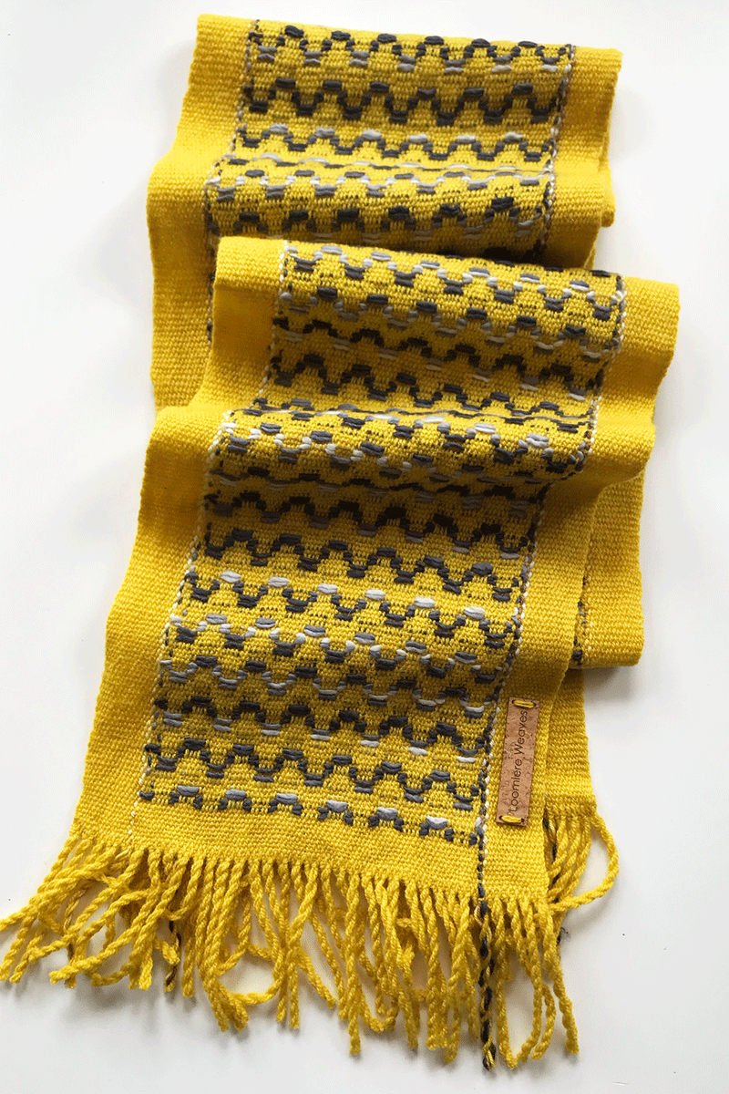 Image of Mustard & Charcoal Wave Scarf