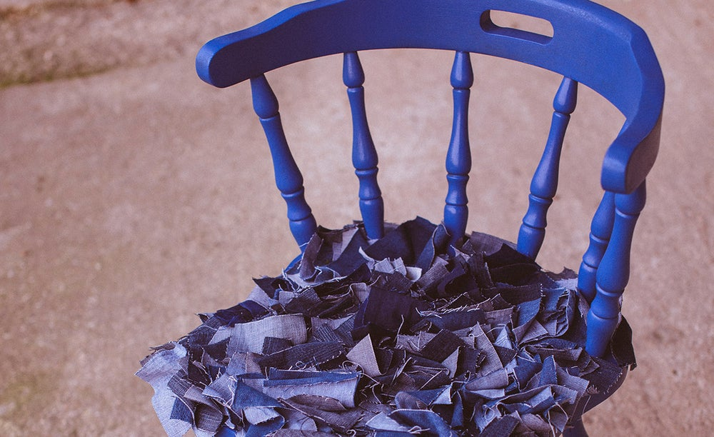 """Upcycled chair """"Blue Jeans Lovers"""""""