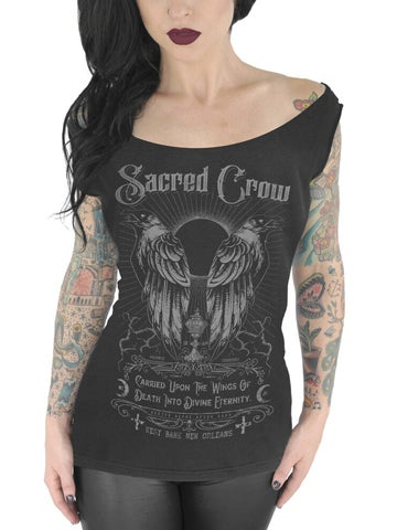 Image of SERPENTINE CLOTHING Sacred Crow Women's Off Shoulder T-Shirt