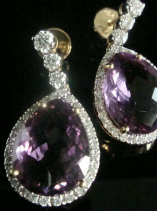 Image of STUNNING 18CT NATURAL AMETHYST AND  DIAMOND 1.00CT CLUSTER STUD EARRINGS