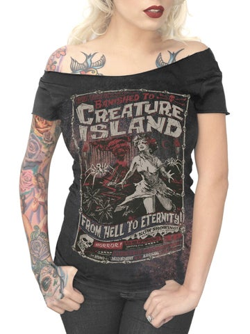 Image of SERPENTINE CLOTHING Creature Island Women's Off Shoulder T-Shirt