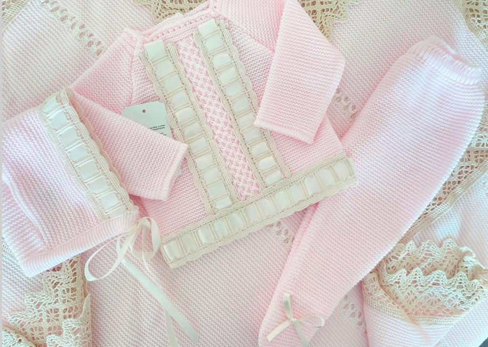 Image of Baby pink luxury knitted set