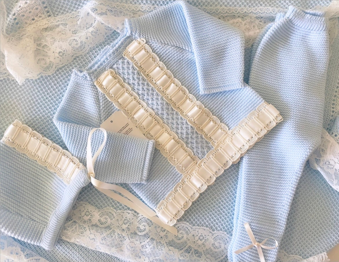 Image of Baby blue luxury knitted set