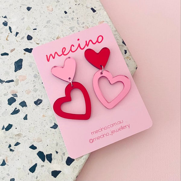 Image of Pink / Red Mirrored Sienna Hearts