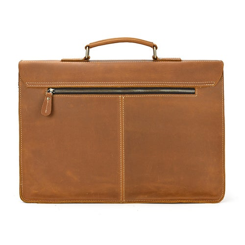 Image of Handcrafted Full Grain Tan Brown Leather Mens Briefcase Business Handbag Laptop Bag for Laywer 0344