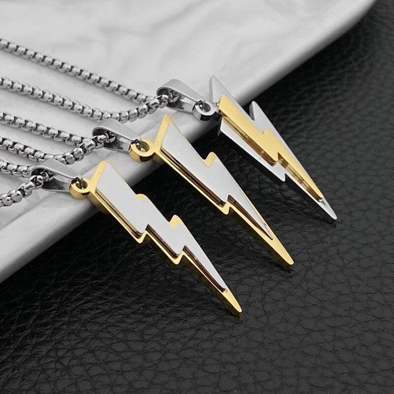 3D Lightning Bolt Gold/Silver Pendant & Chain (Stainless Steel)
