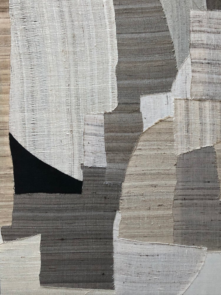 Image of stitched abstract composition in silk (natural)