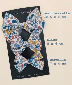 Image of Barrette double gaze bleue fleurie