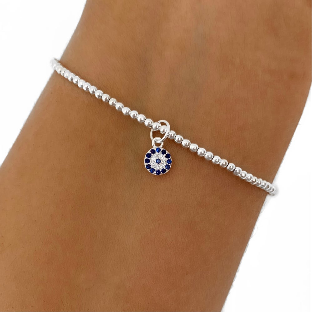 Image of Sterling Silver Diamanté Evil Eye Charm Bracelet