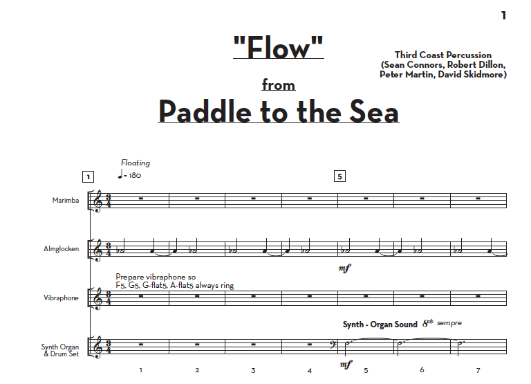 """Image of """"Flow"""" (from Paddle to the Sea) – Score and Parts"""